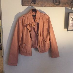 Peach faux leather jacket